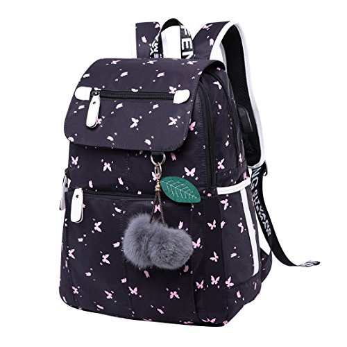 School Backpacks School Bags for Teens Rucksack Teenage Girl High School Backpacks for College Day Backpack Secondary School Bags Large Daypack with USB Laptop Travel Notebook Casual Butterfly