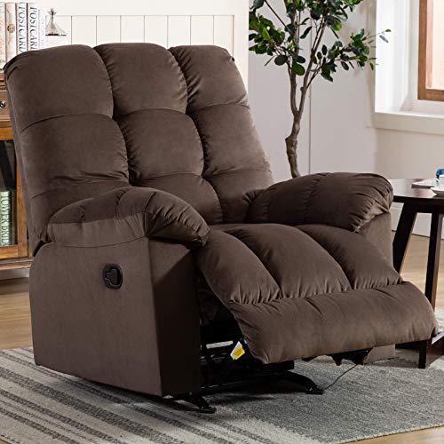 ANJ Rocker Recliner Chair Adjustable Overstuffed Fabric Manual Reclining Chair Soft Contemporary Sofa for Living Room (Dark Brown)