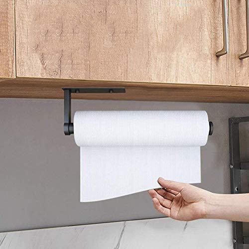 N/C Portarrollos de Cocina, Adhesivo Porta Rollos Papel de Cocina, Soporte Papel Cocina Sin Perforación, Soporte Rollo Cocina de Pared, Aluminio (B)