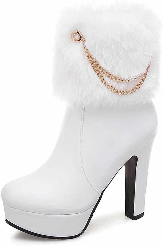 Women Plush Boots 2018 Autumn Winter Fashion Metal Chain Platform Super High Heel Side Zipper Boots Size EU 34-48