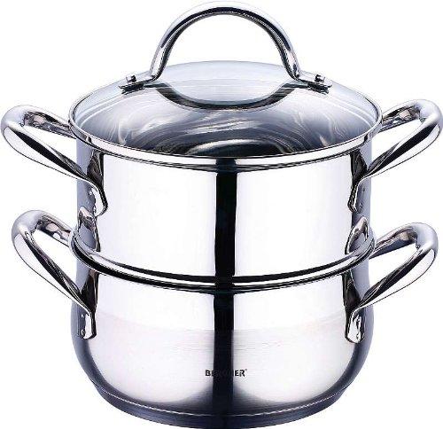 Induktions Damfgarer aus Edelstahl, 3-teiliges Topfset mit Glasdeckel, Kochen und Dampf Garen, Spülmaschinenfest, für alle gängigen Herdarten, NEU + OVP