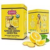 Brew La La Organic Green Tea - Natural Ginger Lemon Flavor - 50 Tea Bag Box - Low Caffeine Tea - USDA Certified Organic