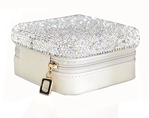 Bestbling Luxury Crystal Bling Jewelry & Accessory Holder Pouch, Travel Portable PU Leather Organizer Case w Compartments for Jewelry,Hair Pins (Silver)