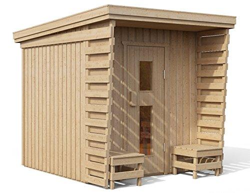 ISIDOR Premium Gartensauna Fortuna Bio Elektro- Saunaofen Kaisa mit 8 kW Heizleistung; Outdoorsauna mit 4,1 m² großem Saunaraum und großer Veranda für EIN intensives Saunavergnügen