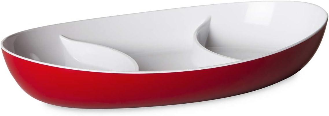 Omada Design Plato ovalado para servir o plato de aperitivo en plástico bicolor, longitud 28 cm, impalable, apto para lavavajillas, línea Trendy