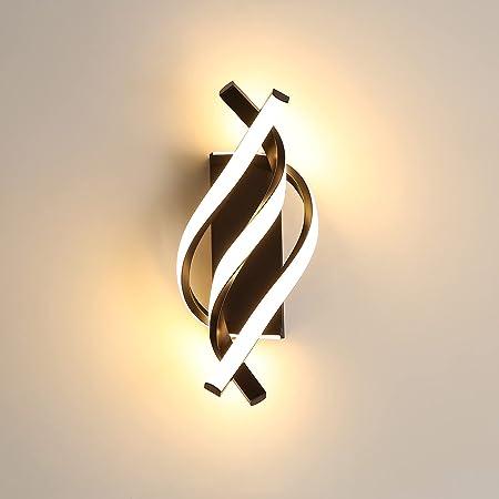 AUA Applique Murale à LED, Applique Murale Moderne 18W, Applique Murale Design incurvée 3000K lumière Blanche Chaude, 1200 lumens, Noir, pour Chambre à Coucher, étude
