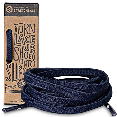 The Original Stretchlace - Flat Elastic Shoelaces, Stretch Shoe Laces for Adult Sneakers, Stylish Shoe Laces for Elderly, Kids, and People with Special Needs, Navy, 45in
