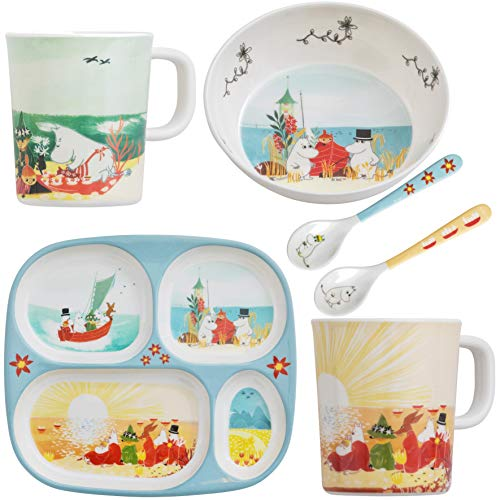 Rätt Start Mumin #oursea - Vajilla infantil (plato, cuenco, cuchara y dos tazas), multicolor