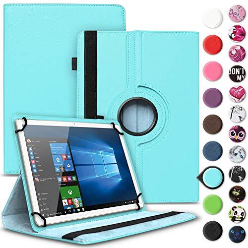 Nauci Tablet Hülle für Xido Z120 Z110 X111 X110 Tasche Schutzhülle Hülle Cover aus Kunstleder Standfunktion 360° Drehbar, Farben:Türkis