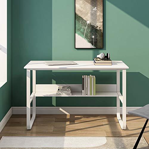 Escritorio de esquina en forma de L para ordenador, de madera DM, con 2 estantes, para oficina/hogar, oficina, escritorio ampliado, 140 x 50 x 75 y 140 x 40 x 75 cm (blanco B)
