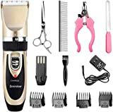 Sminiker Professional Rechargeable Cordless Dogs Cats Horse Grooming Clippers - Professional Pet Hair Clippers with Comb Guides for Dogs Cats Horses and Other House Animals Pet Grooming Kit