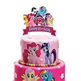 Acrylic My Little Pony Happy Birthday Cake Topper, My Little Pony Friendship Collection Cake Topper, My Little Pony Themed Birthday Party Decoration Supplies