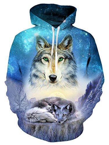 Idgretim Bluse suss fur Teen Madchen 3D Printed Drawstring Sweater Swearshirt Hoodie mit Taschen - Blue Wolf, M