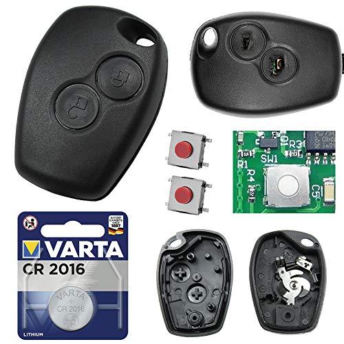 Auto Schlüssel Funk Fernbedienung 1x Gehäuse 2 Tasten + 2X Mikrotaster + 1x CR2016 Batterie kompatibel für...
