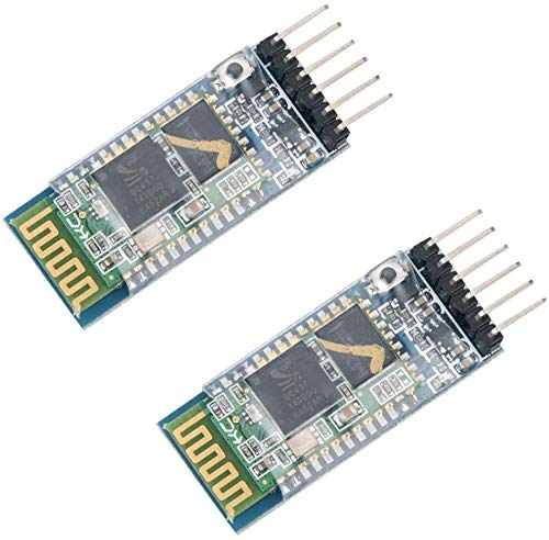 ZHITING 2Pcs HC-05 - Transceptor inalámbrico Bluetooth RF, módulo Bluetooth Integrado de 6 Pines, Puerto Serie inalámbrico, módulo BT de comunicación para Arduino