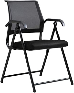 XUEYAN Black Ergonomic Folding Chair Computer Desk and Chair Executive Mesh Chair Dining Chair Portable Stool Dormitory News Chair, Suitable for Home/Office (4 Colors) (Color : Black)