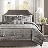 Madison Park Cozy Comforter Set-Luxurious Jaquard Traditional Damask Design All Season Down Alternative Bedding with Matching Shams, Decorative Pillow, Queen(90'x90'), Grey 7 Piece