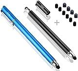 B&D (2 Piezas) lápices ópticos [Nuevo actualizado] [0.18-Inch Small Punta Series] 2-en-1 Bolígrafos Digitales/Lápiz Capacitivo 5.5-Inch L con 10 Puntas de Goma de Recambio. (Negro/Azul)