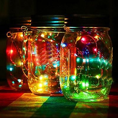 Lavany® LED Fairy Light Solar For Mason Jar Lid Insert Color Changing For Bedroom Xmas Wedding Party Garden Decor