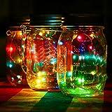 Lavany ® Led Fairy Light Solar for Mason Jar Lid Insert Color Changing for Bedroom Xmas Party Garden Decor