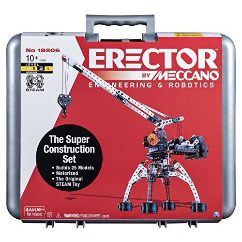 Erector by Meccano Super Construction 25-In-1 Motorized Building Set, Steam Education Toy, 638 Parts, For Ages 10+