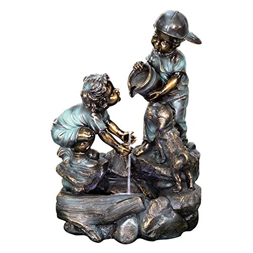 Beckett Corporation Boy and Girl Water Fountain - Outdoor Yard Décor for Patio, Porch, Garden, and Koi Pond, Pump Included, Bronze