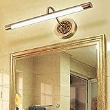 HMAKGG Lámpara Espejo Baño Rustico, Aplique Espejo Baño Vintage Lámpara de espejo Aplique Acrílico para Espejo Muebles de Maquillaje Aparato Montado en la Pared,Latón,12W/65.5CM