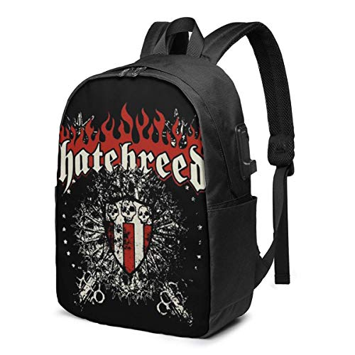USB Backpack 17 in Hatebreed Skull and Maces The Lions USB Backpack,Business Laptops Backpack Gift for Men Women with USB Charging Port, Laptop Backpack