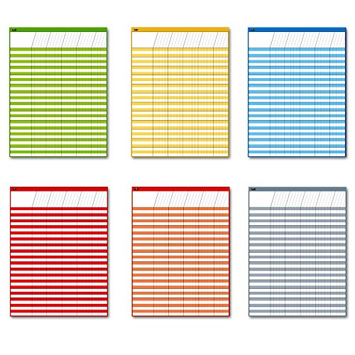 """Dry Erase Incentive Chart/Chore/Responsibility/School Attendance/Homework Progress Tracking Chart, 6 Pack in Multi-Color, 36 Rows X 25 Columns (17"""" x 22"""")"""