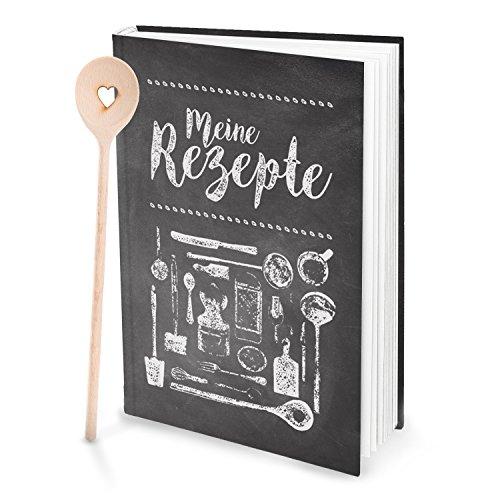 Cadeauset: XXL receptenboek om zelf te schrijven, TAFEL-KREIDE LOOK + 1 kooklepel met hart zwart-wit-grijs DIN A4, 164 pagina's + register om vrij te maken, DIY