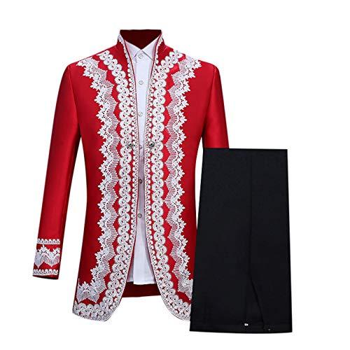 WOOGOD Vestido medieval para hombre con chaqueta y pantalón, disfraz militar, blazer, gótico, cuello alto, para cosplay, uniforme, fiesta, carnaval, ropa medieval. rojo XXL