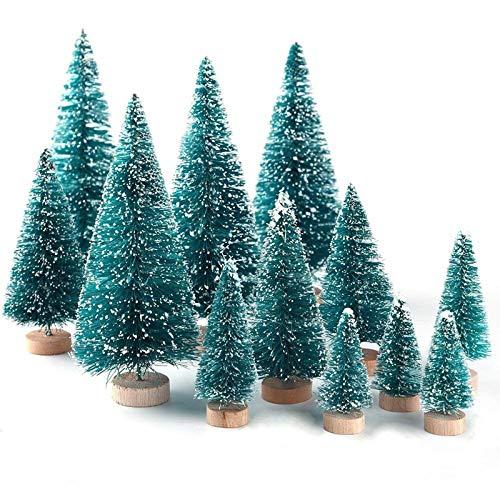 Lot de 34 mini sapins de Noël en sisal avec base en bois pour décoration de table
