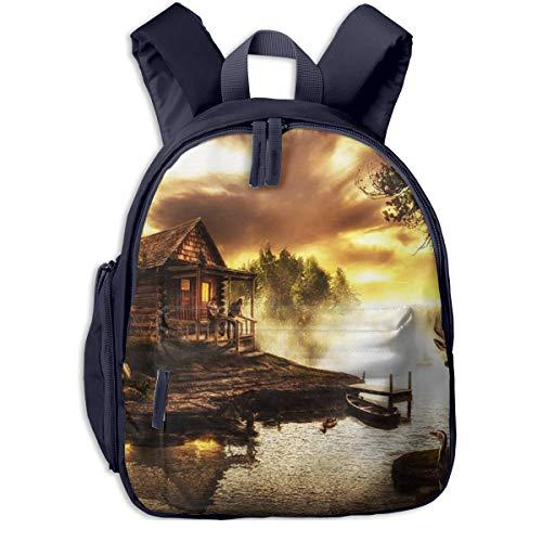 Kinderrucksack Kleinkind Jungen Mädchen Kindergartentasche Tier Holzhaus Stream Backpack Schultasche Rucksack