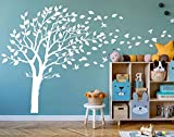 AIYANG Blossom Tree Wall Decals Flying Birds Wall Stickers Removable Vinyl Wall Art Wall Decorations for Kids Baby Nursery Room Decoration (White)