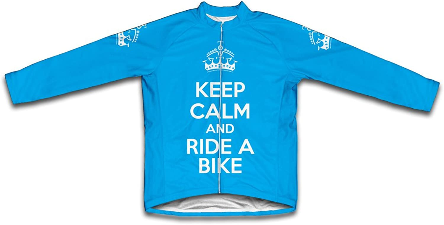 Keep Calm and Ride a Bike Long Sleeve Cycling Jersey for Women Light blueee Size 3XL