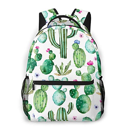 Laptop Backpack Painted Seamless Watercolor Cactus Plants Women Boys Girls Travel Bag Outdoor Camping Hiking Daypack For Men
