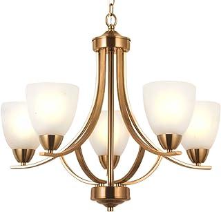 VINLUZ 5 Light Contemporary Chandeliers Brushed Brass Modern Ceiling Light Fixtures Classic Pendant Lighting for Bedroom Dining Room Kitchen Foyer