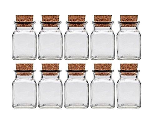 Gewürzgläser Set mit Press-korken | 10 teilig | Füllmenge 150 ml | Vierkantglas Quadratisch Hochwertiges Glas | Glasdose Glasgefäß ideal für Salz Pfeffer Sonnenblumenkerne kürbiskerne Kandis Bonbons