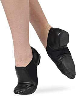 f7c63d38f Leather Slip-On Split Sole Jazz Shoes With Neoprene Inserts | Dance Basix |  Dance