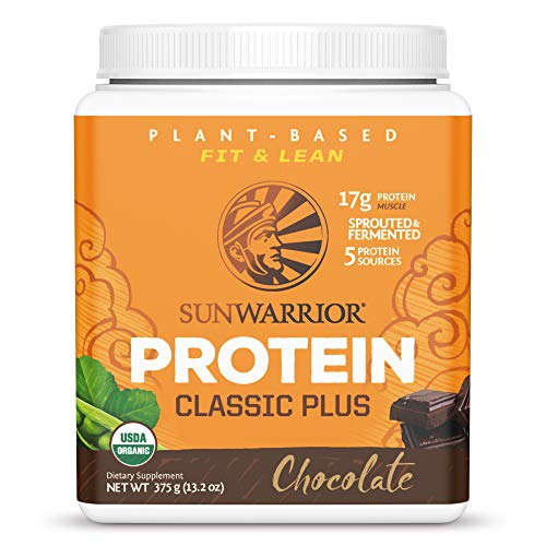 Sunwarrior - Classic Plus - Vegan Protein Powder with Peas and Brown Rice Raw Organic Plant Based Protein - Chocolate - 375g