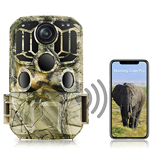 WiFi Wildlife Camera 20MP 1296P Trail Camera 850nm Hunting Camera with 0.3 Striggered Time and 120° Angle Waterproof IP66 Game Camera with Motion Activated NightInfrared Vision Outdoor Scouting