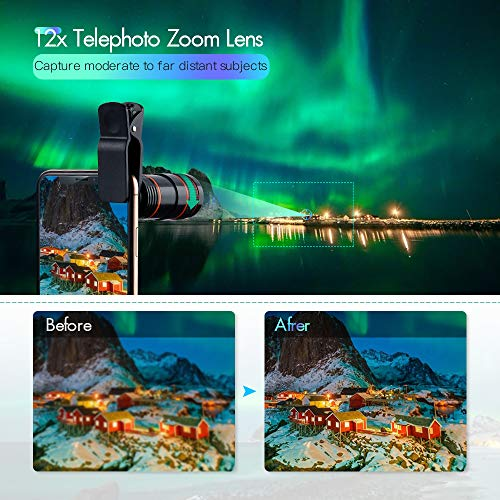 Cell Phone Camera Lens Kit,6 in 1 Universal +0.62x Wide Angle &25x Macro...