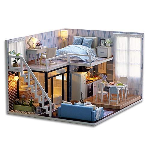 Galapara Puppenhaus aus Holz DIY Miniatur Loft Dollhouse Kit lebensechte Mini 3D Holzhaus Zimmer handgemachtes Spielzeug mit Möbel LED-Leuchten Valentinstag Geburtstagsgeschenk