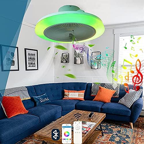 LED Plafon RGB Iluminación Ventilador Techo con Luz y Mando a Distancia APP Silencioso Invisible Ventilador de Techo Luce Altavoz Bluetooth Música Moderna Temporizador Infantil Dormitorio Sala Estar
