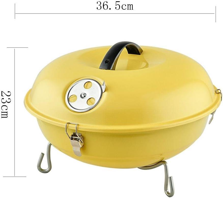 Barbeque Grill Puits de barbecue au charbon, puits de barbecue en plein air, outils de barbecue, amateurs brûlent le four, volume léger, pratique à transporter , yellow Yellow