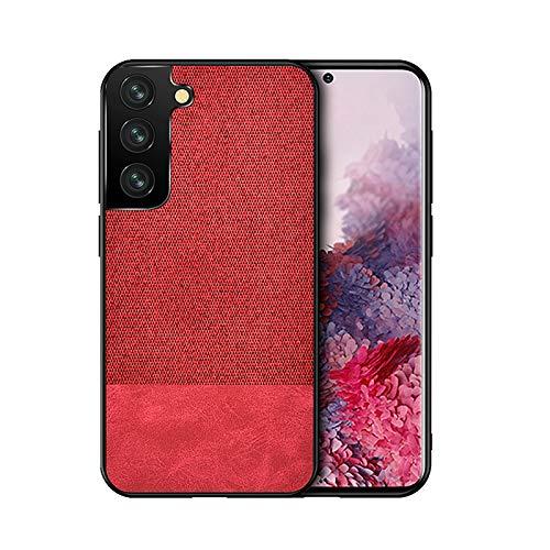 TOPOFU Case for Xiaomi Black Shark 4/4 Pro,Ultra Slim Fabric Grain Splicing Design Cover,PC & TPU Shockproof Protective Leather Case for Xiaomi Black Shark 4/4 Pro-Red
