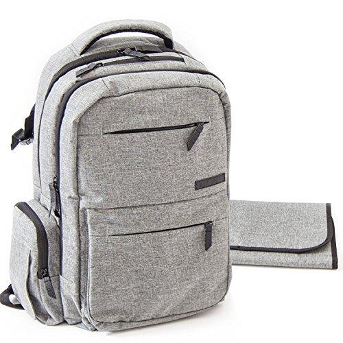 Baby-Wickeltasche für Frauen – Multifunktions-Organizer mit Kinderwagen-Gurten, große Wickelunterlage und isolierten Taschen, Grau – kostenlose Aufbewahrungstasche im Lieferumfang enthalten