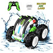 Remote Control Car Waterproof Stunt Car- 2.4Ghz 4WD Off Road Water & Land Rc Cars-Double Sides Stunt Car with 360° Spins & Flips Racing Car Toys for Kids Christmas Birthday Gift