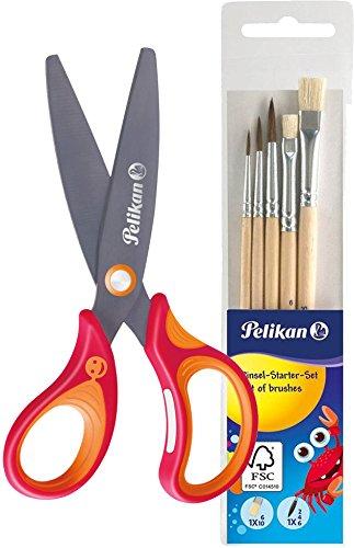 Pelikan griffix Schulschere, Rot, für Rechtshänder (Pinselset) inklusive 718163 - Pinsel Starterset