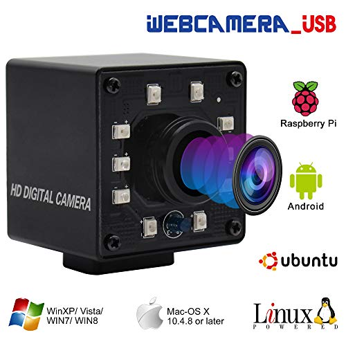100fps 1.56mm Fisheye Lens USB Camera 1/2.7' CMOS OV2710 Web Cam Full HD 1080P USB with Camera Mini Infrared Night Vision USB2.0 Web Camera with IR Cut and 10pcs Led Board for Android Windows Linux